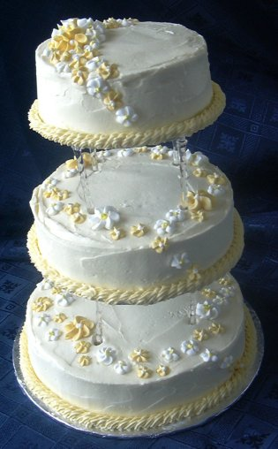 wedding cake consists of lemon pound cake covered with buttercream